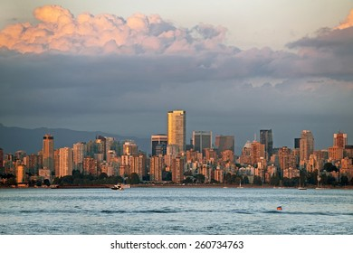 Vancouver skyline at red sunset, British Columbia, Canada