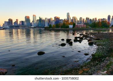 Vancouver skyline at sunset, British Columbia, Canada