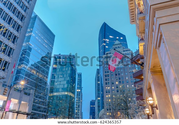 Vancouver urban scene taken at dawn, various office buildings