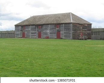 Vancouver, WA USA – April 10, 2018: Fur Warehouse builing at the reconstructed Hudson Bay Company Fort Vancouver.