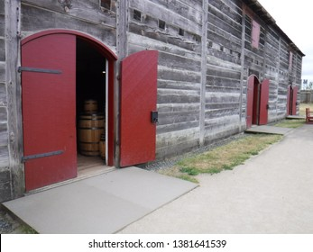 Vancouver, WA USA – June 30, 2018: The door is open for a visit to the Fur Warehouse Building at the  reconstructed Hudson Bay Company Fort Vancouver.