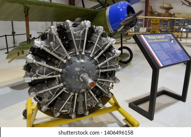 Vancouver, WA USA – May 22, 2019: A Pratt & Whitney R-985 engine on display inside the main historic hanger at the Pearson Air Museum. Part of Fort Vancouver National Historic Site