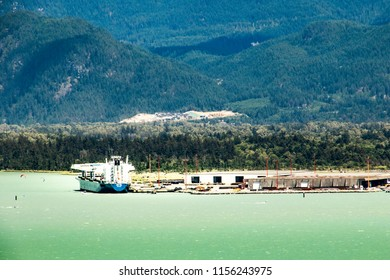 Vancouver,BC,Canada July 22 2018 Ship is in harbour for cargo loding
