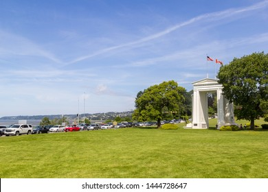 Vancouver-Blaine Hwy, Canada - 02 June 2019: Cars at the Canada - US Peace Arch border crossing the Peace Arch Park