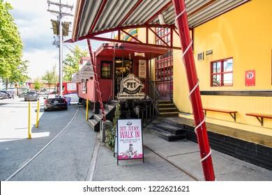 Vancouver/British Columbia/Canada - Jun 04 2018: Entrance Partial View Kids Market in GranVille Island