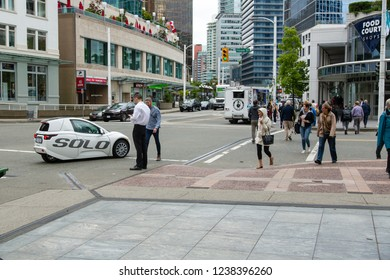 Vancouver/British Columbia/Canada - Jun 05 2018: Partial View Solo on street Downtown Vancouver
