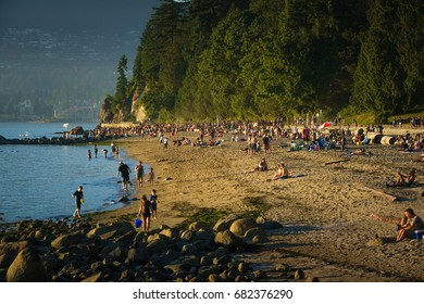 Vancouver,British Columbia,Canada,July 18 2017.Third beach afternoon at Stanley park,Vancouver Canada