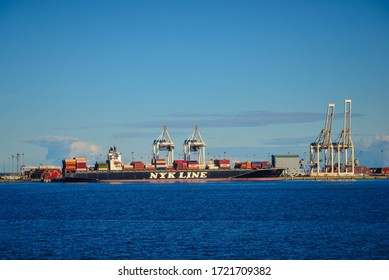 Vancouver/Canada-30-4-2018: The NYK Line container ship waiting for unloading containers at the port of Vancouver Canada
