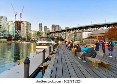 VANCOUVER,CANADA-OCTOBER 7,2017:  View of evening time at Granville Island Public Market in Vancouver, Canada
