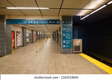 Vancouver,Canada-September 13, 2018: SkyTrain Waterfront station