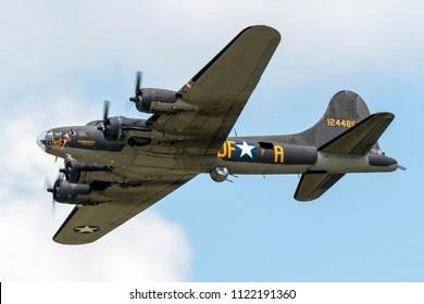 VANDALIA, OHIO / USA - JUNE 23, 2018: A World War II era B-17 Flying Fortress, the Memphis Belle, performs at the 2018 Vectren Dayton Airshow.