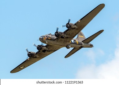 VANDALIA, OHIO / USA - JUNE 23, 2018: A World War II era B-17 Flying Fortress, the Memphis Belle, performs at the 2018 Vectren Dayton Airshow.
