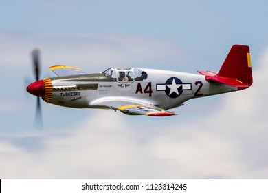 VANDALIA, OHIO / USA - JUNE 23, 2018: A World War II era P-51 Mustang from the 'Red Tails' squadron on display at the 2018 Vectren Dayton Airshow.