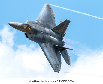 VANDALIA, OHIO / USA - JUNE 23, 2018: A United States Air Force F-22 Raptor on display at the 2018 Vectren Dayton Airshow.