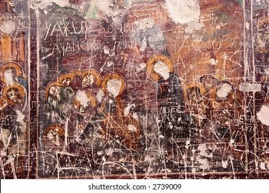 Vandalism of ancient paintings, Sumela Monastery, Turkey.