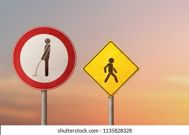 Vandalism, exhibitionist, incontinence - pissing man and child. Road signs.