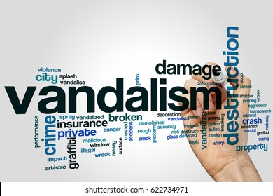 Vandalism word cloud concept on grey background