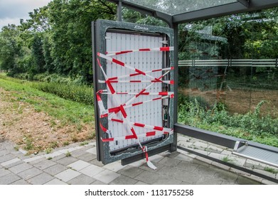 Vandalized Bus Stop At Amsterdam East The Netherlands 2018