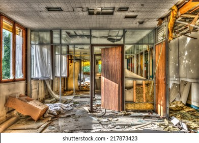 Vandalized office in an abandoned hospital