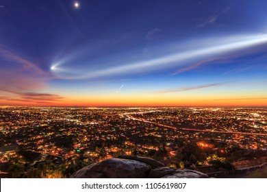 Vandenberg AFB SpaceX Falcon 9 Rocket Launch Over San Diego County in the evening. Shot from atop Mount Helix in La Mesa, California on December 22, 2017 at 5:27 PM.