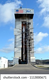 Vandenberg Air Force Base, CA-February 10, 2013: An Atlas V rocket carrying the Landsat 8 satellite stands within the mobile service tower at Space Launch Complex-3 on Vandenberg Air Force Base, CA.