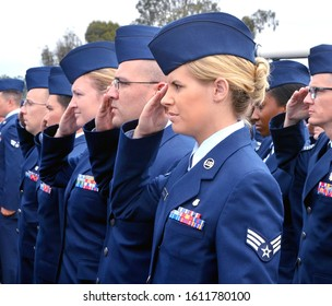 Vandenberg Air Force Base, California, USA: July 9, 2015: U.S. Air Force military personnel salute during a change of command ceremony.