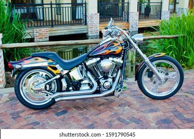Vanderbijlpark, Free State / South Africa - December 17 2019 - Flaming Custom Harley Davidson