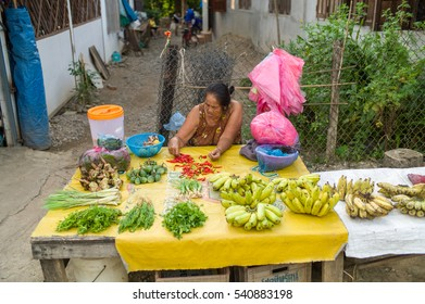 VANG VIENG, LAO - OCTOBER 24: Unidentified Vendor at Morning Market in Vang Vieng. It's local market selling rice, fish, vegetables, flower and raw food on October 24, 2016