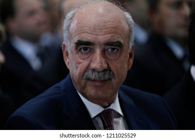 Vangelis Meimarakis, leader of conservative New Democracy party, arrives to attends a speech in Thessaloniki, Greece on Sept. 12, 2015.