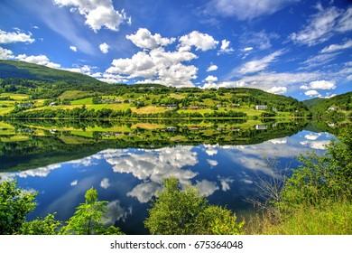 Vangsvatnet Lake Reflection, Voss, Norway