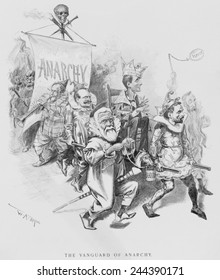 THE VANGUARD OF ANACHY, caricatures Eugene Debs, wearing crown labeled 'Debs Am. Railway Union'. July 1894 cartoon by W.A. Rogers, portraying prominent socialists and populists as fools and clowns.