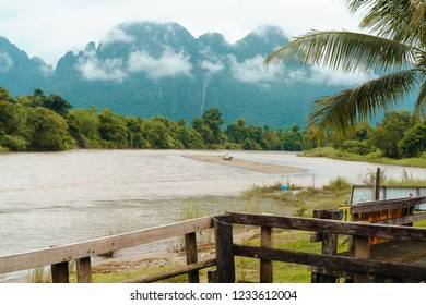 VANGVIENG LAO OCTOBER 1 2018 : view of river at smaile beach bar at Vangvieng Lao.