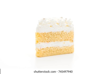 vanilla cake isolated on white background