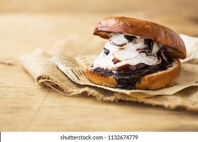 Vanilla and cookie ice cream sandwich