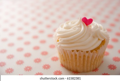 Vanilla Cupcake with Heart Candy