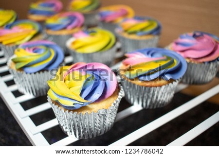 Vanilla Cupcakes Rainbow Icing Stock Photo Edit Now 1234786042