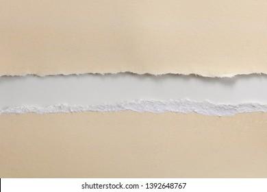 Vanilla fiber paper torn in half over white background.