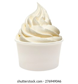 Vanilla frozen yogurt in takeaway cup isolated on white background