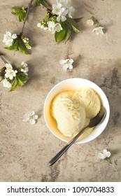 Vanilla ice cream in bowl, top view