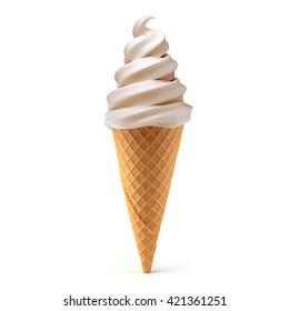 vanilla ice cream cone isolated