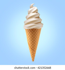vanilla ice cream cone on background / 3D illustration