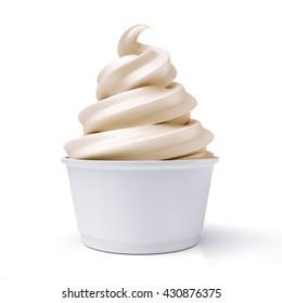vanilla ice cream in paper cup / 3D illustration