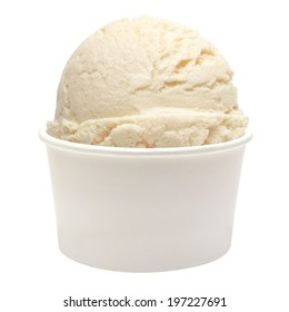 Vanilla ice cream scoop in paper cup on white background