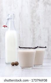 Vanilla Milkshake arrangement on wooden background