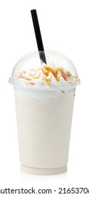 Vanilla milkshake covered with whipped cream in plastic glass isolated on white background