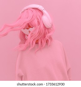 Vanilla Pink Dj Girl. Monochrome Party style. Pink aesthetic. Stylish headphones, music lover concept
