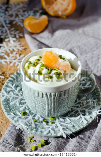 Vanilla pudding in a cup. Selective Focus