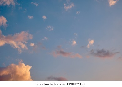 Vanilla sky with clouds in the tropics evening time