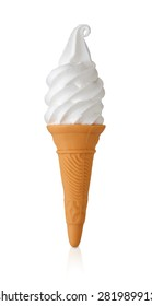 Vanilla soft serve ice cream or frozen yogurt in a wafer cone isolated on a white background with clipping path