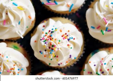 Vanilla Sprinkles Cupcakes Background